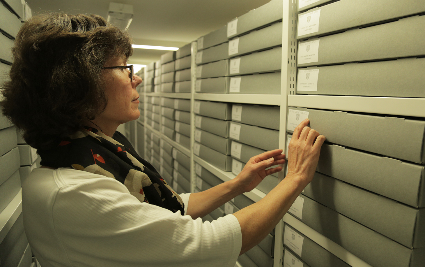 In the strongroom: Press Archivist, Dr Rosalind Grooms, looks for documents in the secure and carefully controlled environment of the University Library's strongroom.